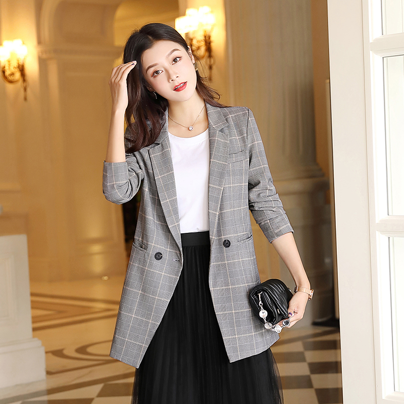 Vintage Casual Plaid Blazer Women Fashion Double Breasted Office Ladies Jacket Coat Female Notched Collar Long Sleeve Suits