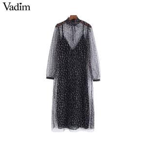 Image 1 - Vadim women two piece set leopard print dress see through long sleeve female elegant animal pattern dresses vestidos QC928