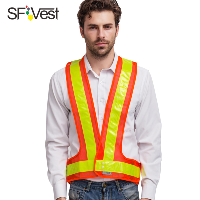 Sfvest Reflective V Shaped Vest Waistcoat Riding Safe Reflective Clothing Road Administration Sanitation Lattice High-Speed Road
