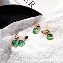 Korean Style Green Stone Drop Earrings for Women Bohemian Gold Dangle Earring Bridal Wedding Party Brincos Summer Jewelry