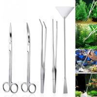 5Pcs set for fresh and marine aquarium Live Plants Grass Scissor Tweezers Shovel Kit Stainless steel Aquarium Maintenance Tools