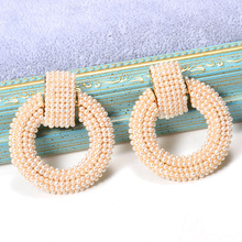 ZA New Dangle Earrings Studded With Full Pearl Fine Jewelry White Simple Accessories Round-Shaped For Women