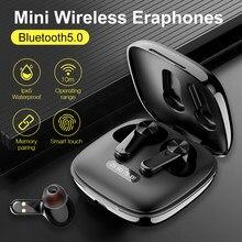 Verdadeiro bluetooth5.0fones de ouvido sem fio controle toque com caso carregamento ipx5 à prova dwireless água esportes fone estéreo