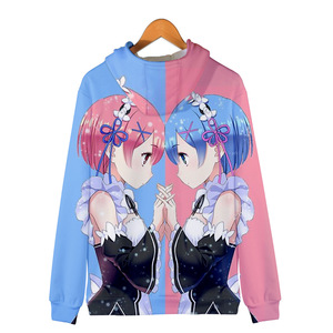 Image 4 - Japão anime re zero hoodie com capuz jaqueta com zíper casaco moletom para homem feminino roupas da menina do miúdo rem e ram zíper casacos