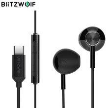 BlitzWolf-auriculares con cable tipo C, con controlador dinámico de 14,2mm, auriculares de media oreja con USB para estéreo HiFi, videojuegos y reuniones, con micrófono auriculares con cable para auriculares