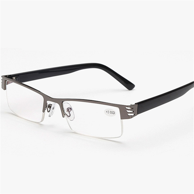 Reading Glasses Men Women High Quality Black Half-frame Diopter Glasses Male Presbyopic Eyeglasses +1.0+1.5+2.0+2.5+3.0+3.5+4.0