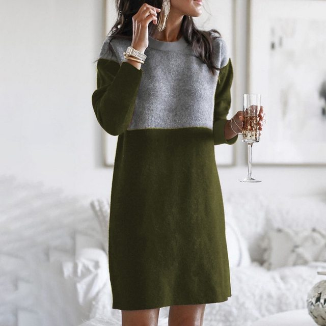 Women Autumn Dress Long Sleeve Stripe Patchwork O-neck Mini Dress Fashion Clothing Loose Casual Autumn Winter Vestido 3