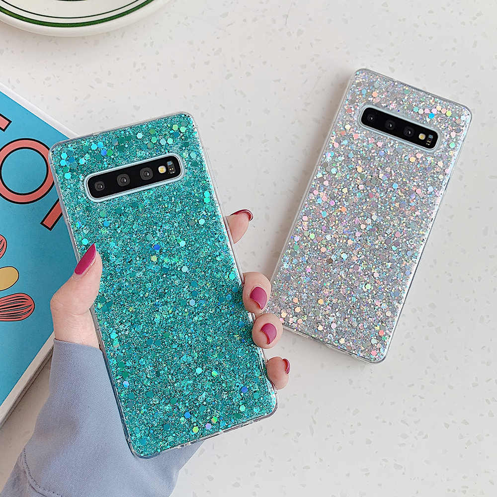 Suyacs Glitter Payet Case Telepon untuk Samsung Galaxy S20 S10 S8 S9 Plus A50 A70 A10 20 S Note 10 pro Epoxy Soft Back Cover Coque