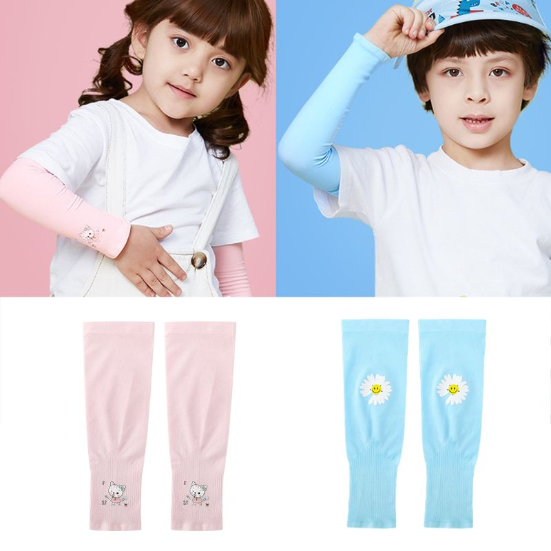 Baby Kids Summer UV Protection Arm Sleeves Cartoon Floral Animal Cycling Sunscreen Cooling Ice Silk Sleeveless Gloves