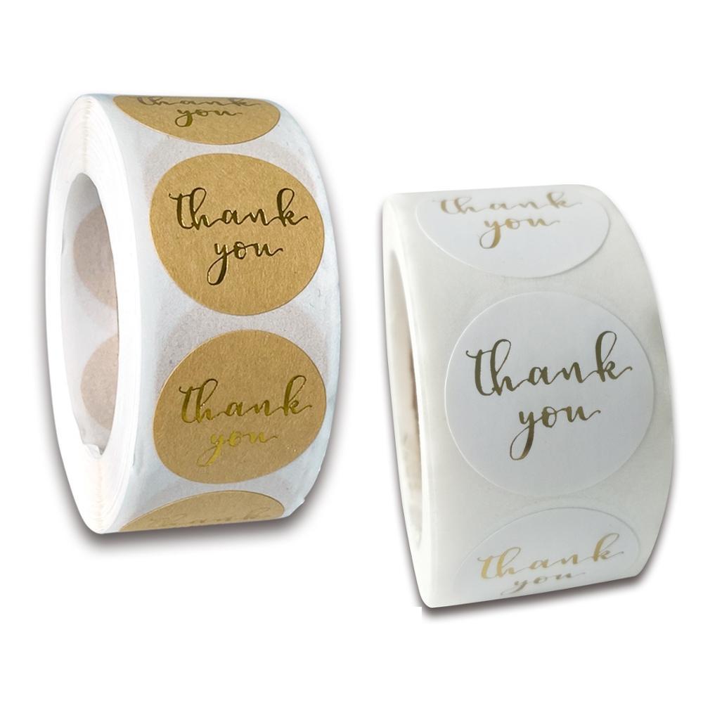 500 шт. спасибо, наклейки на руку, круглая наклейка, печать золотого штампа, крафт-бумага с цветным/белым покрытием, одноразовый продукт