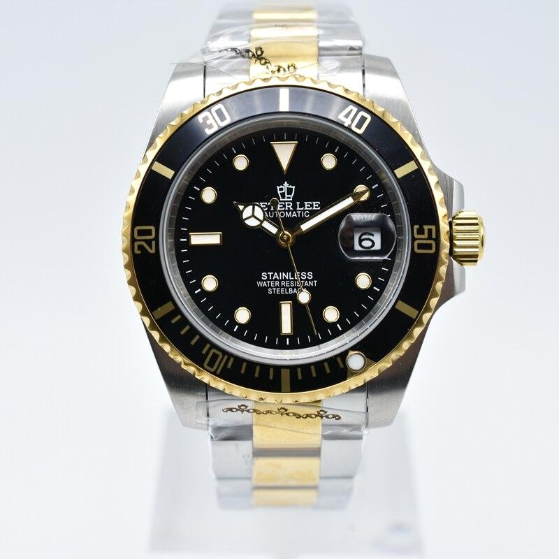 Hb1d9e96f828d4cdca32eef4071f637e3P Ceramic bezel luminous mechanical automatic men watches top brand luxury PETER LEE daydate stainless steel men hand wind watch