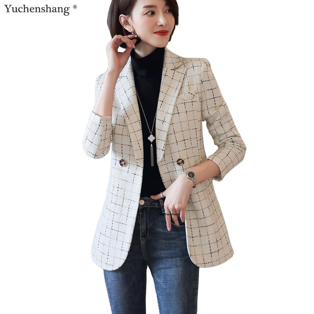 Women Elegant White Black Plaid Blazer Soft Thick Fabric Fall Autumn Winter Jackets Casual Outwear Coat England Style 5XL