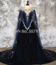 2019 V neck off the shoulder sleeveless A line floor length tulle coming of age ceremony dress stars&beading&Cloak free shipping