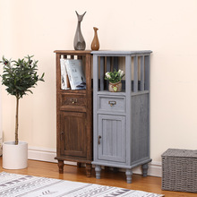 Creative Nordic simple solid wood furniture bedroom bedside cabinet paulownia furniture retro style living room storage table