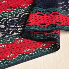 JaneYU 2019 New Arrival Red And Green Carbon Lace Fabric Handmade Clothes Dresses Clothing