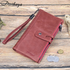 Image 5 - DICIHAYA Brand Genuine Leather Women Wallet Red Purse Ladies Clutch Purses Card Holder Women Phone Bags Double Zippers Wallets