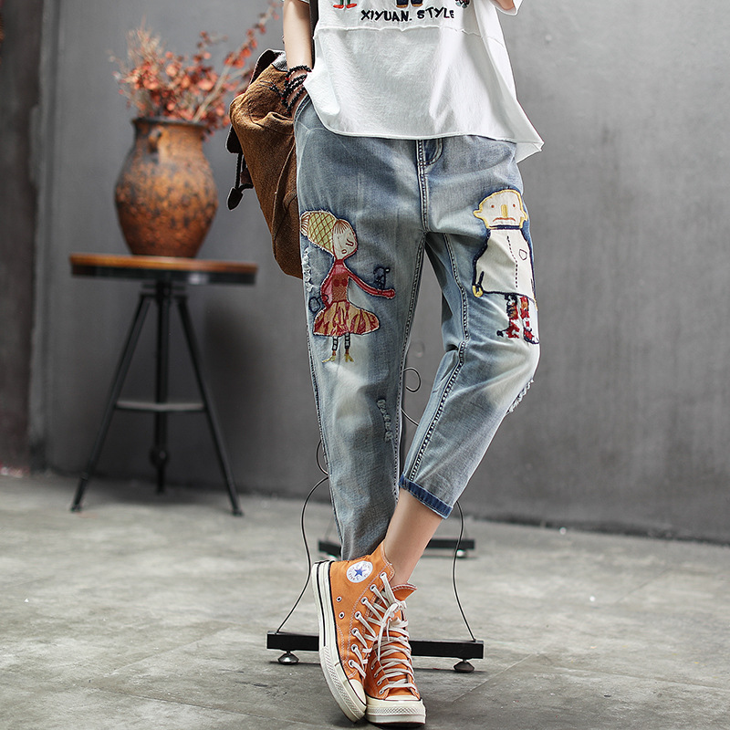 New Style Applique Cartoon Loose-Fit Embroidered With Holes Harem Pants Summer Elastic Waist Lace-up Jeans Capri Pants Fashion
