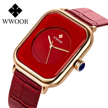 WWOOR Womens Fashion Red Square Watch 2020 Simple Ladies Big Watches