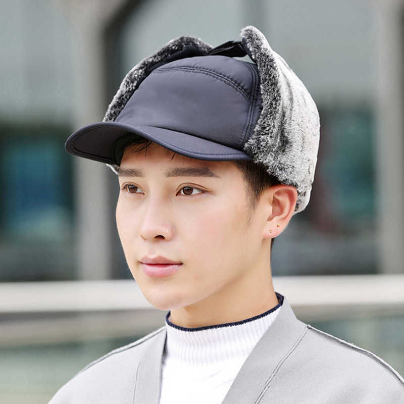 Hot Men หมวกหมวกหู WARM Thicken Windproof สบายสำหรับฤดูหนาวเล่นสกีกลางแจ้ง MVI-ing