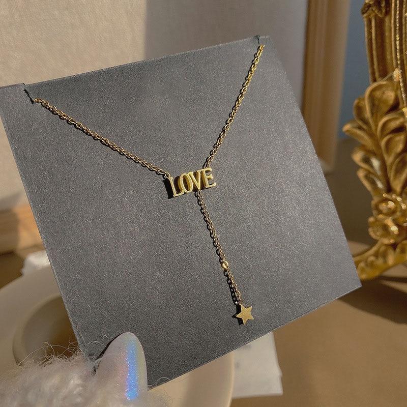 Titanium steel love letter necklace female light luxury niche design sense ins cold wind clavicle fashion trendy necklace