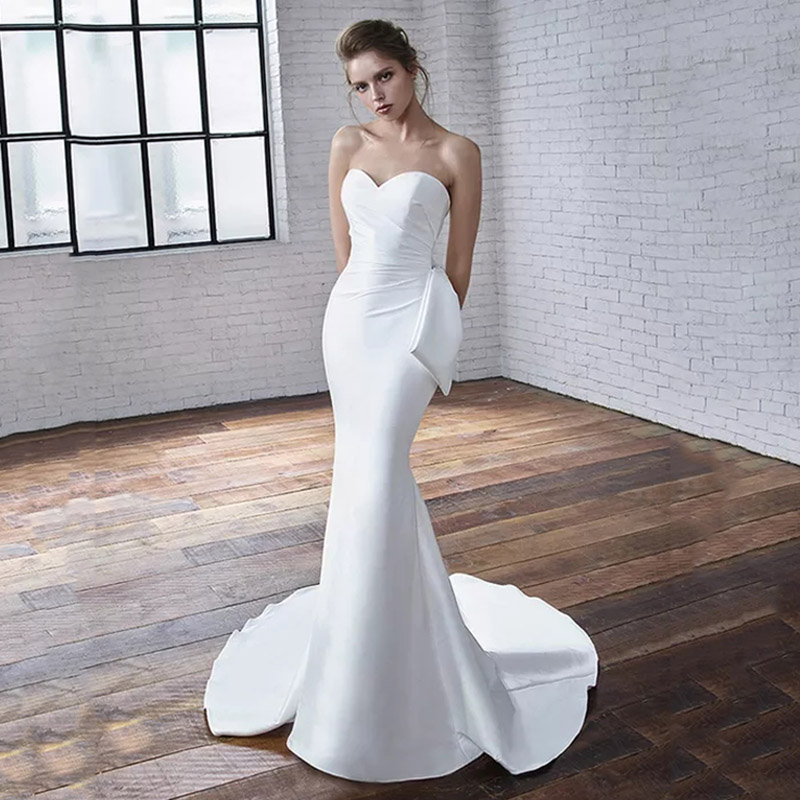 Eightree Mermaid Wedding Dress Strapless Sweetheart Wedding Gowns Satin Backless Bow Bride Dress Classic Vestido De Noiva