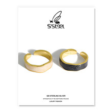 Bague géométrique En Argent Sterling 925 pour femmes, Bague ouverte minimaliste de luxe coréen, bijoux fins, cadeau pour femmes, 925