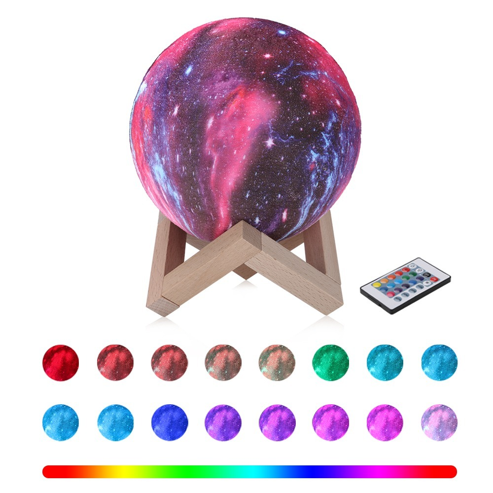 3/16 Colors 3D Printing Moon Lamp With Remote Control Starry Sky Galaxy Light Built In Rechargeable Battery Night Lamp