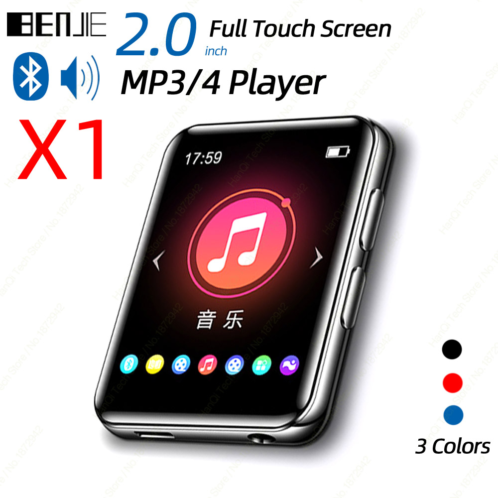 BENJIE X1 Touch Screen Bluetooth MP3 MP4 Player Portable Audio Music Video Player With Built-in Speaker FM Radio Recorder E-Book