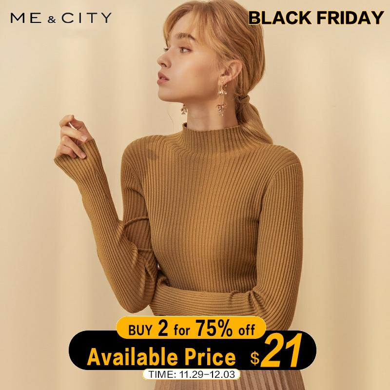 ME&CITY 2019 Cashmere Chic Knitted Sweater Women Pullovers Autumn Winter Basic Women Sweaters Official Lady Fashion Slim Fit