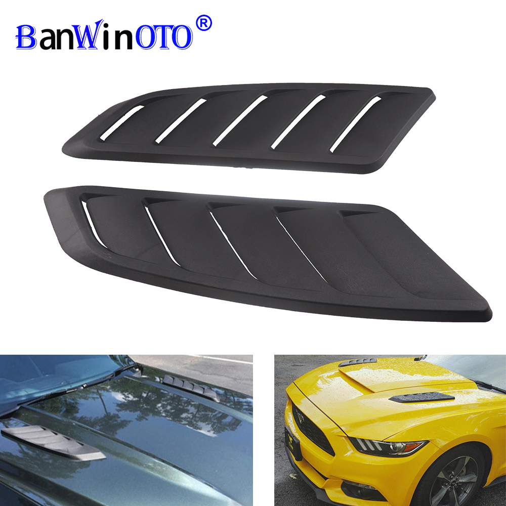 Universal ABS Kunststoff Auto Air Intake Scoop Bonnet Hood Vent Front Hood Vent Fit Für Ford Mustang 2015-2017 panel Trim 2 stücke