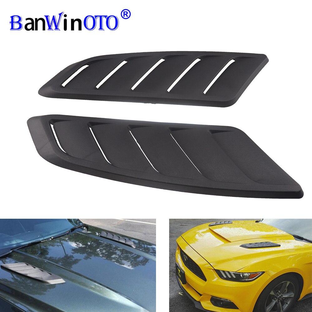 Universale In Plastica ABS Auto Aria di Aspirazione Scoop Bonnet Hood Vent Anteriore Hood Vent Misura Per Ford Mustang 2015-2017 pannello di Rivestimento 2pcs