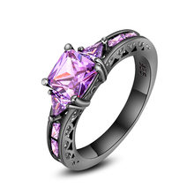 Fashion Zircon Ring Ladies Fashion Accessories Black Gold Ring Purple Diamond Ring Vintage Jewelry Wedding Ring(China)