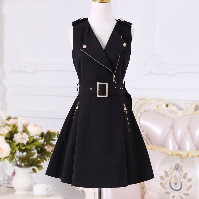 Women Dresses 2020 Spring And Autumn New Women's Black Zipper Slim British Temperament Dress Student Dresses Clothing