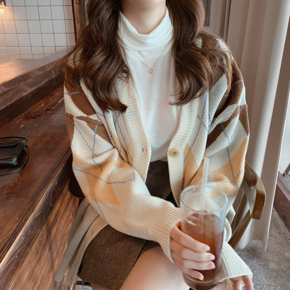 New Oversize Women's Sweaters Autumn Winter Fashion Vintage  Plaid V-Neck Cardigans Single Breasted Puff Sleeve Loose Cardigan