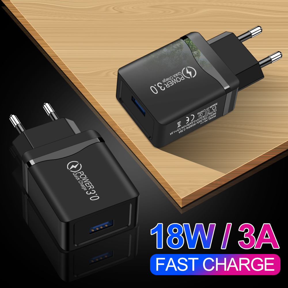 Quick Charge 3.0 USB Charger EU Wall Mobile Phone Charger Adapter For IPhone 11 X 7 8 6 QC3.0 Fast Charging For Samsung Xiaomi