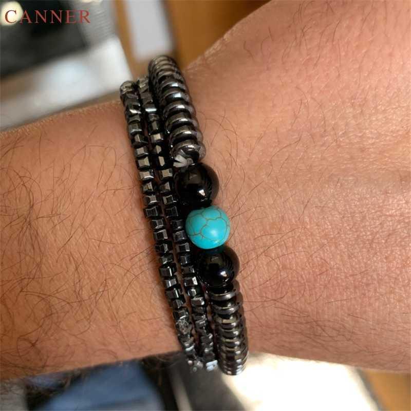 Автоклав панк Вес потери браслет для магнитотерапии мужские черные бусины из гематита Браслеты Для женщин стрейч оздоравливающие ювелирные изделия C40