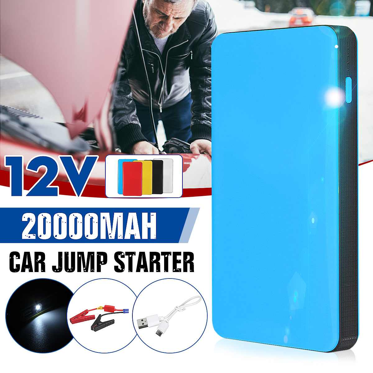 20000mAh 12V Car Jump Starter Power Bank Emergency Charger Booster Battery Portable Car Battery Booster Buster Starting Device
