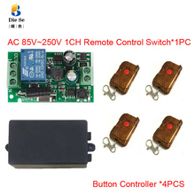 цена на 433MHz Universal Wireless Remote Control Switch AC 110V 220V 1CH Relay Receiver Module 1 Button Remote Control for gate garage