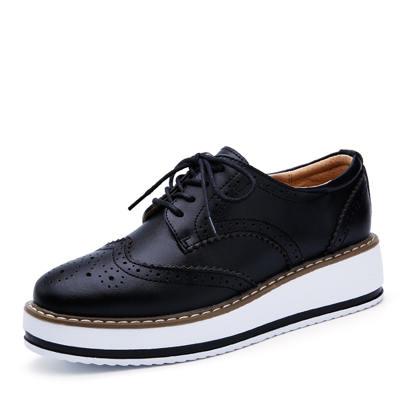 2019 Spring Autumn Women Platform Shoes Woman Brogue Patent Leather Flats Lace Up Footwear Female Flat Oxford Shoes For Women