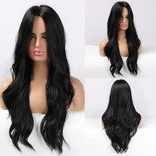 Pelucas de pelo largo ondulado sintético para mujeres negras, resistente al calor, Cosplay diario africano y americano, color negro