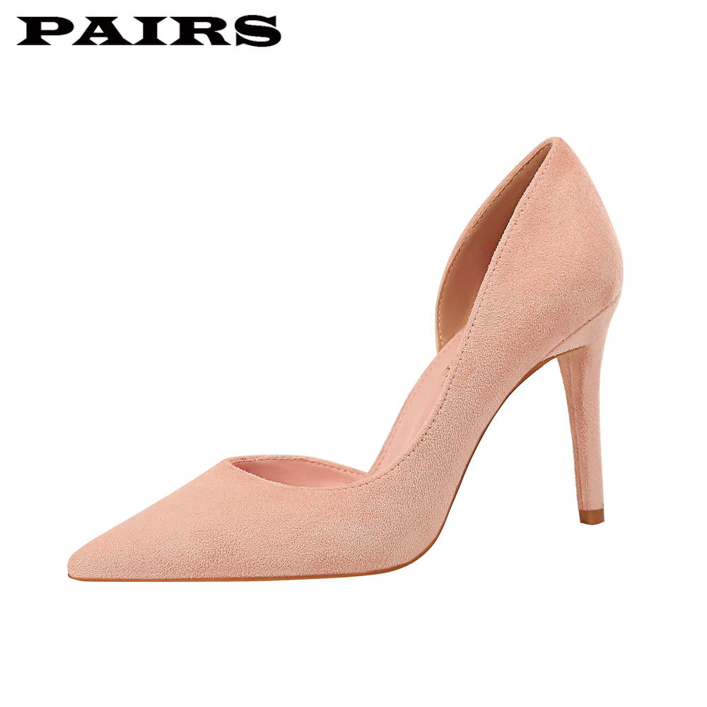 BigTree Brand Designer Pumps Shoes Women High Heels Classic Faux Suede Sexy Stiletto Pink Shoes Office Party Shoes Plus Size 43