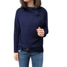 Women Autumn Winter Casual Loose Sweatshirt Button Solid Color Round Collar Long Sleeve