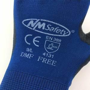 Image 2 - בטיחות מכונאי עבודה כפפות מצופה PU פאלם סרוג ניילון באיכות גבוהה אנטי להחליק לנשימה כפפת CE מוסמך EN388 4131X