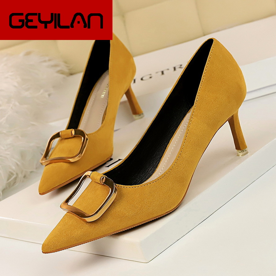 Autumn Fashion Metal Belt Buckle Shallow Women Pumps Pointed Toe Concise Solid Flock OL Office Shoes Women's High Heels 6cm Shoe