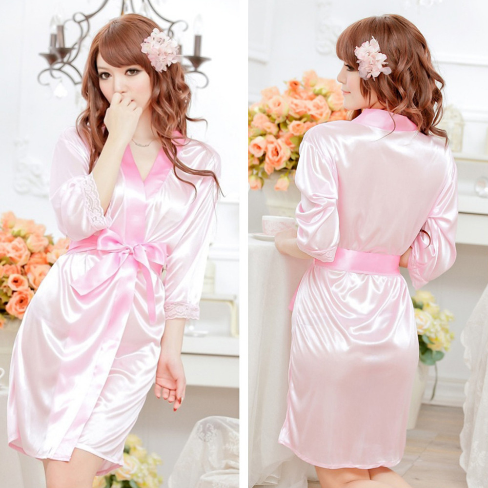 Hot Sexy Lingerie Satin Lace  Intimate Sleepwear 5 Colors Robe Sexy Night Gown Women Sexy Underwear