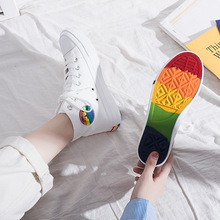 High Help Rainbow Canvas Shoe 2019 Trend Small White