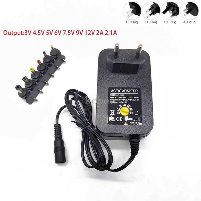 3v 4.5v 5v 6v 7.5v 9v 12v 2a 2.5a ac/dc adaptador adaptador ajustável fonte de alimentação universal carregador para led lâmpada tira cctv