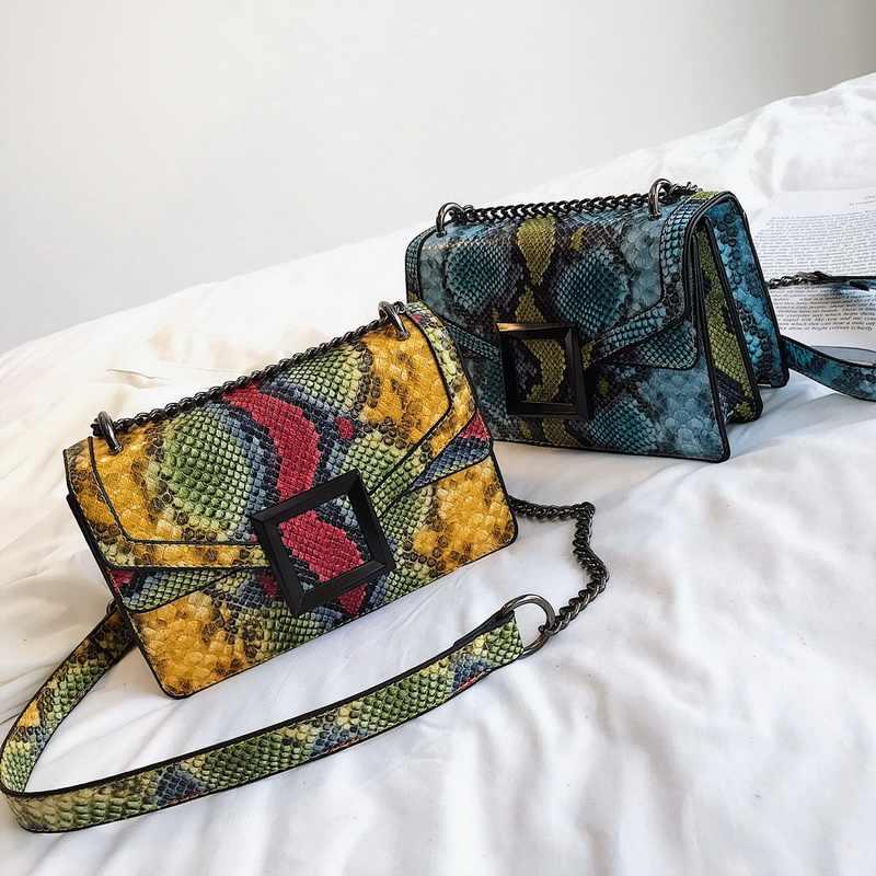 Jodimitty bolsa feminina cobra impressão bolsa de ombro vintage crossbody bolsa de ombro de couro de luxo bolsa mensageiro sac a principal