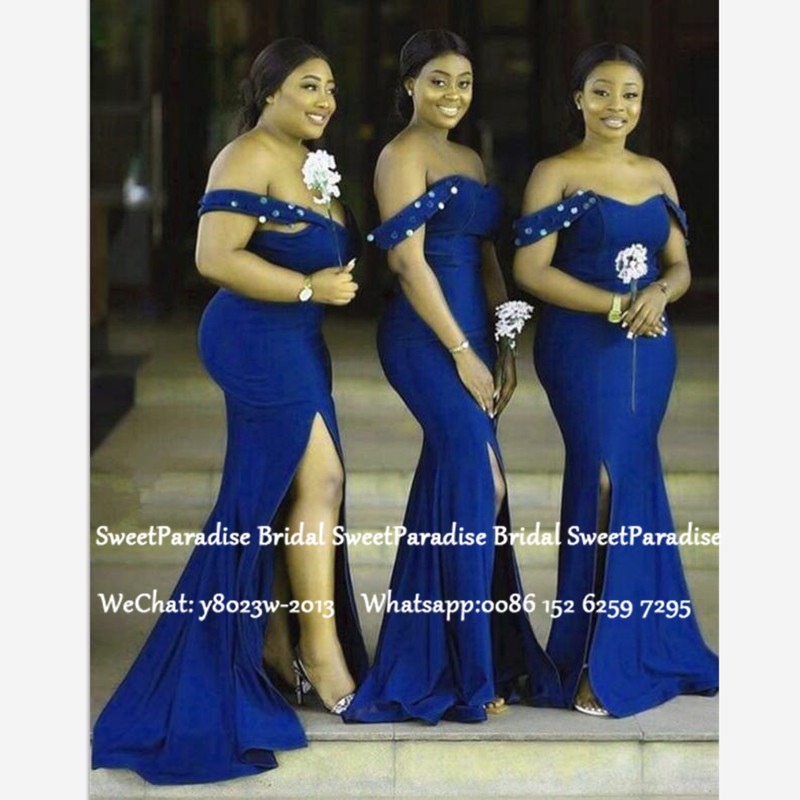 Sexy Split Mermaid Bridesmaid Dresses 2020 Royal Blue Beads Off Shoulder Robe Demoiselle D'honneur Long Wedding Guest Dress