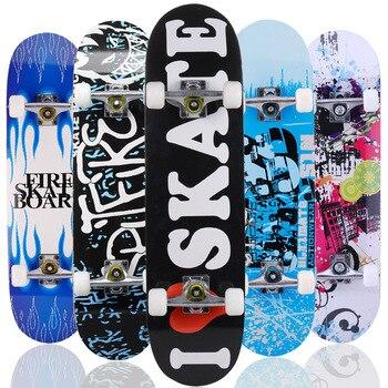 цена на Adult & Kids Double Rocker Skateboard Complete Skateboard Skate Board Street Dancing Skateboard Maple Deck Board